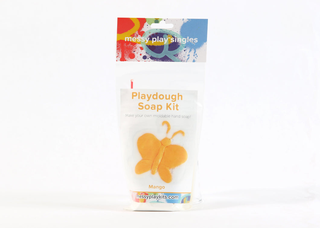 Single package of the Mango color of Messy Play Kit's playdough soap DIY kit. Label shows a butterfly molded from the orange playdough soap.
