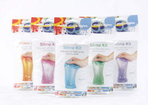 Five packages of glitter slime available in varying colors, including orange, magenta, turquoise, green, and purple.