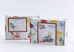Splatter painted box package of Dinosaur Dig Messy Play Kit, showing front and back of package.