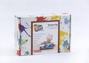 Splatter painted box package of Dinosaur Dig Messy Play kit.