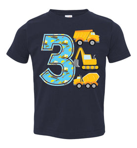 Construction Birthday Shirt, 3 Year Old Birthday Outfit, Boy 3rd Birthday Shirt, Three Birthday Toddler Happy Birthday Outfit