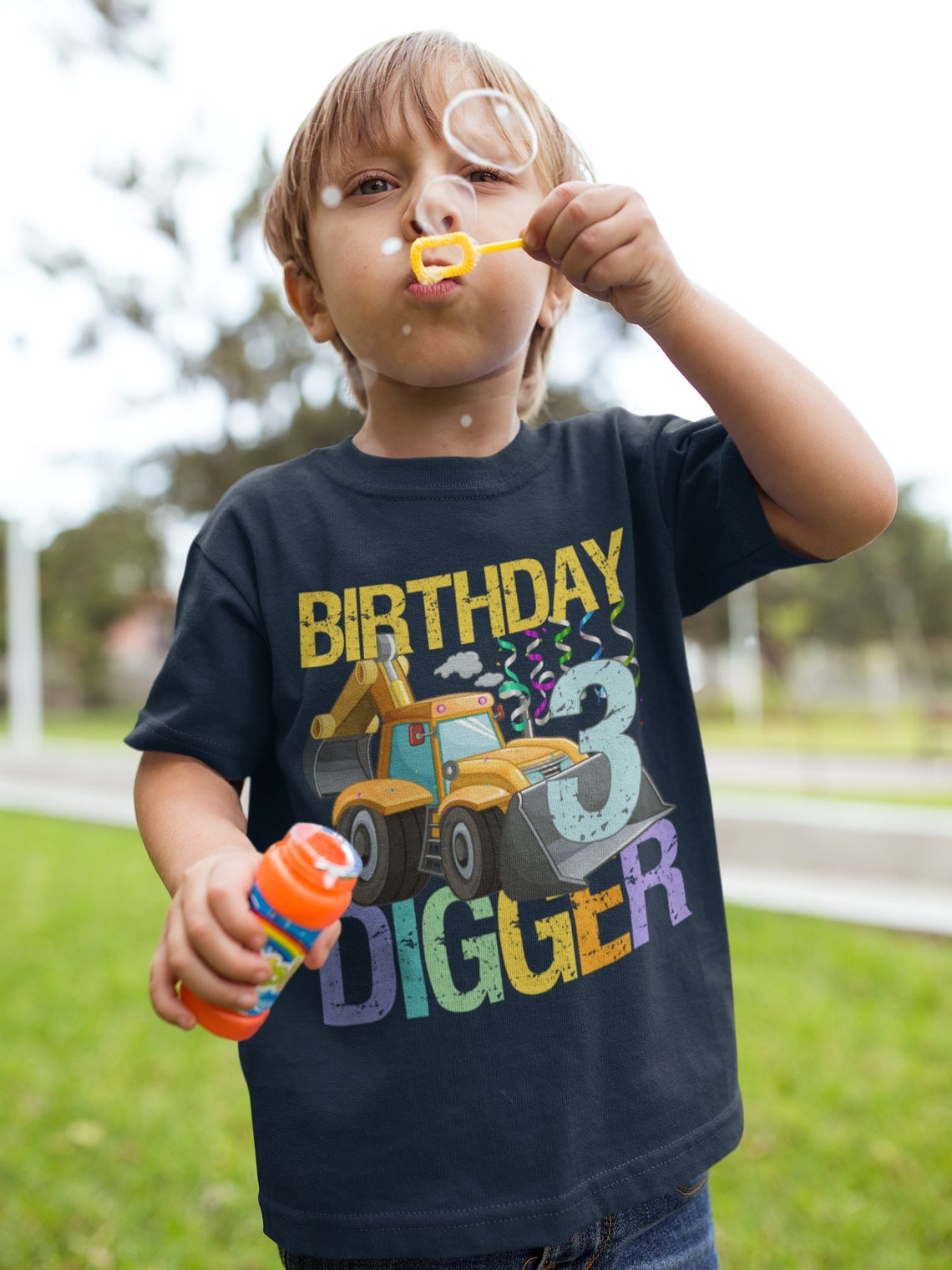 3rd Birthday Construction Digger Truck Shirt For Boys, 3 Year Old Party Tshirt