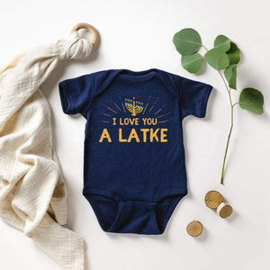 My First Baby Hanukkah Bodysuit, Hanukkah Baby Outfit, I Love You A Latke, Jewish Holiday Funny Gelt Gift for Little Kids, Clothe For Babies