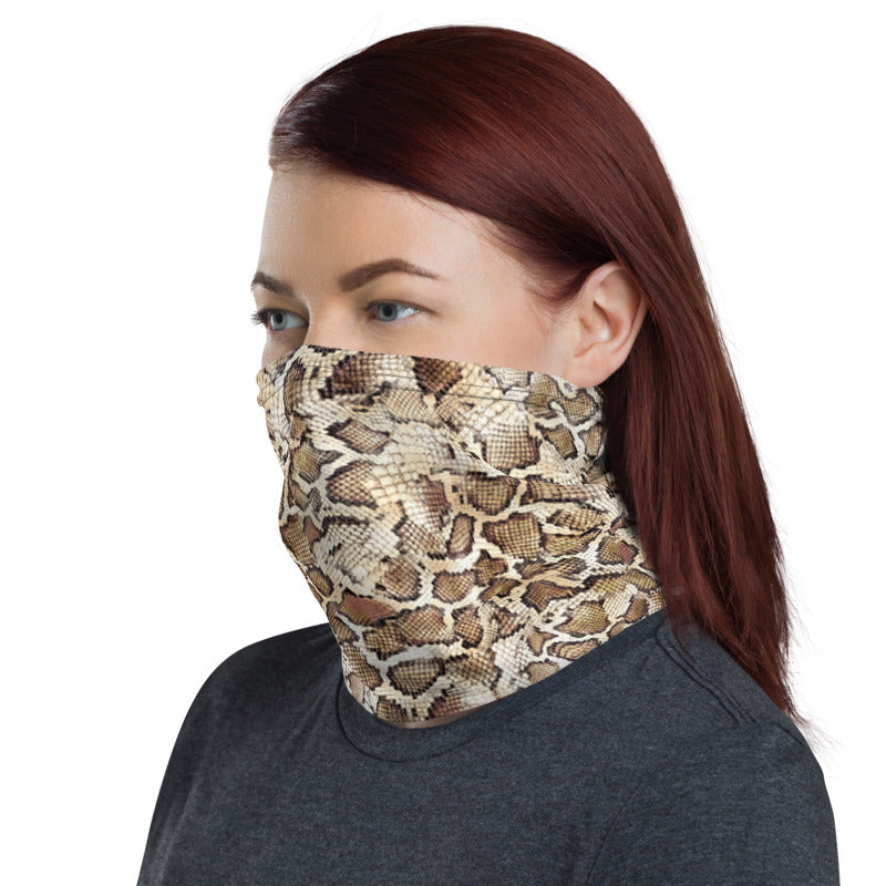 Snake Skin Print Neck Gaiter, Fabric Face Mask Nose Cover, Animal Lover Buff, Zoo Neck Warmer, Washable Headband, Snake Bandanna, Dust Mask