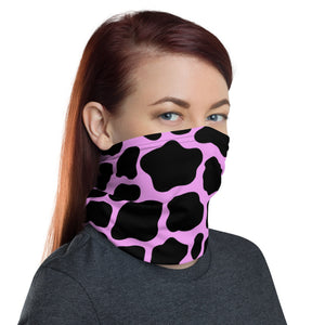 Pink Cow Print Neck Gaiter, Fabric Face Mask Nose Cover, Buff Animal Lovers Zoo Neck Warmer, Washable Headband, Farm Bandanna Dust Mask
