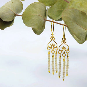 """Hayda"" Pearl Chandelier Earrings"