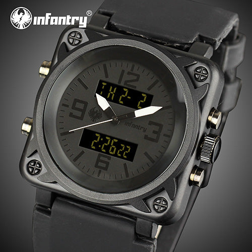 Infantry Watches Men Luxury Square Face Chronograph Aviator Military
