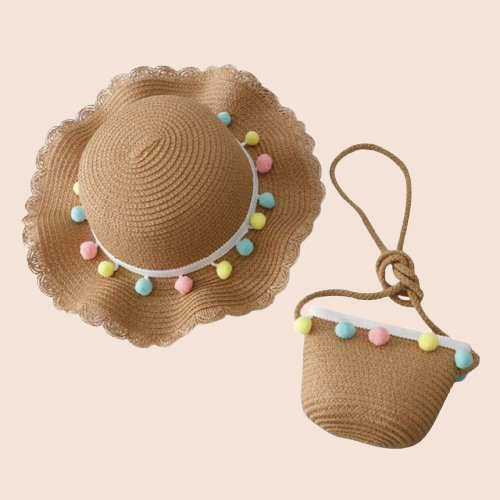 Popcorn Straw Hat & Bag Set