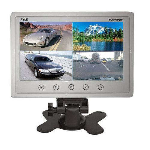 9'' Video Display Monitor, Quad View (4) Source Zone Display, Multiple Source Input, Selectable Viewing Mode, Backup Camera Compatible (White)