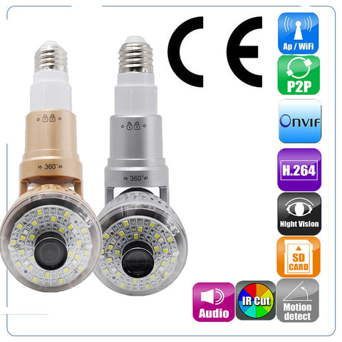 P2P Bulb Camera - 2.8cm Bright White WiFi/AP IP Camera