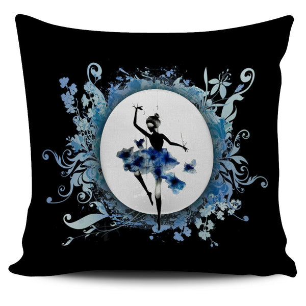 Blue Ballerina Throw Pillow Cover 18x18