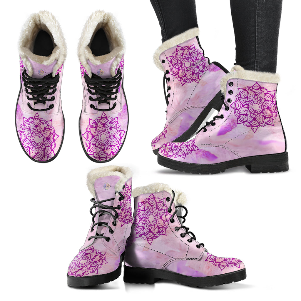 Pink Mandala Fur Lined Leather Boots