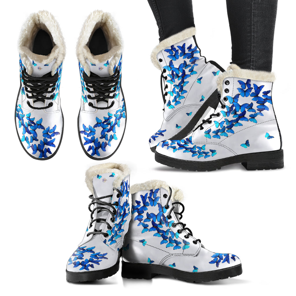 White and Blue Butterflies Fur Leather Boots