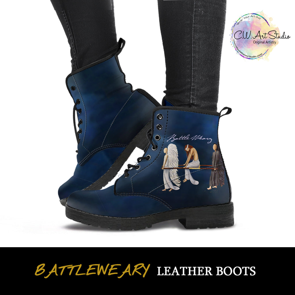 Battle Weary Angels Indie Art Leather Boots