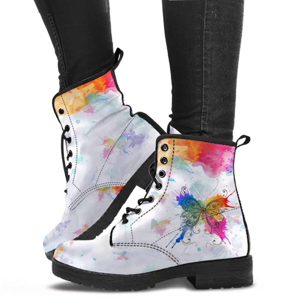Watercolors Butterfly Indie Art Leather Boots by SophieStar