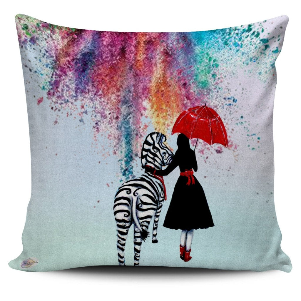 Colorfall Zebra Throw Pillow Cover 18x18in