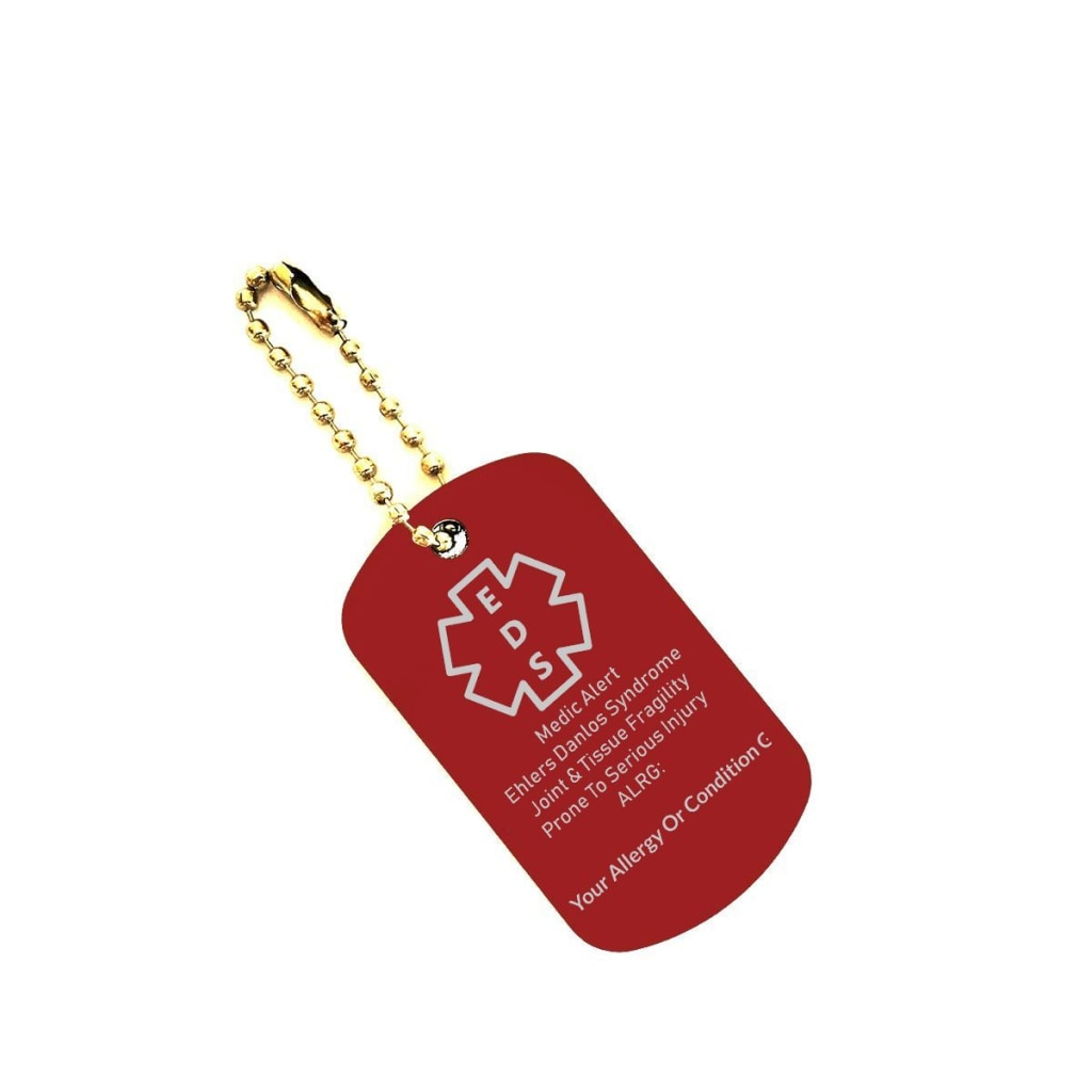 Customizable EDS Medical Alert Dog Tag Key Chain - C.W. Art Studio