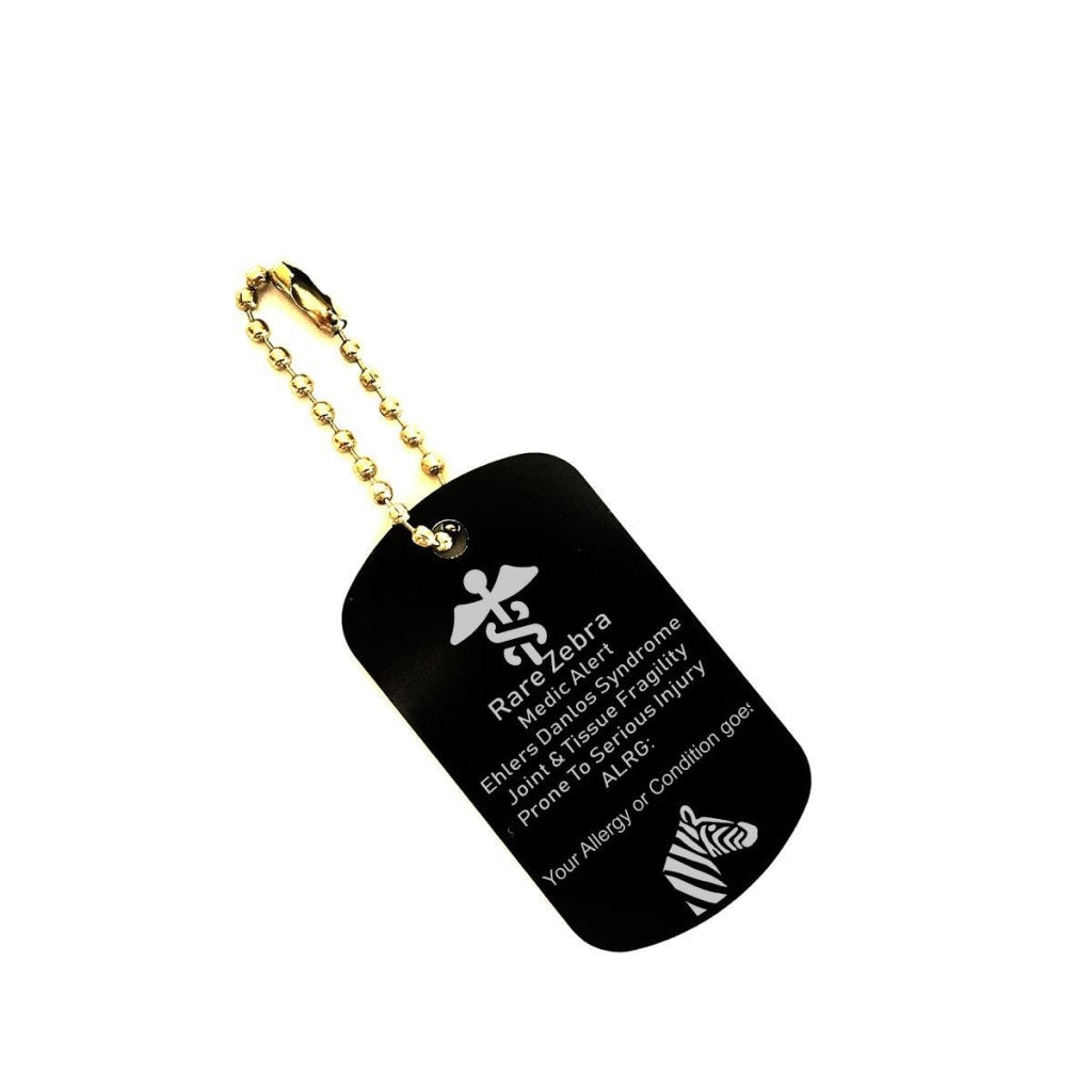 Customizable Rare Zebra EDS Medical Alert Dog Tag Key Chain - C.W. Art Studio