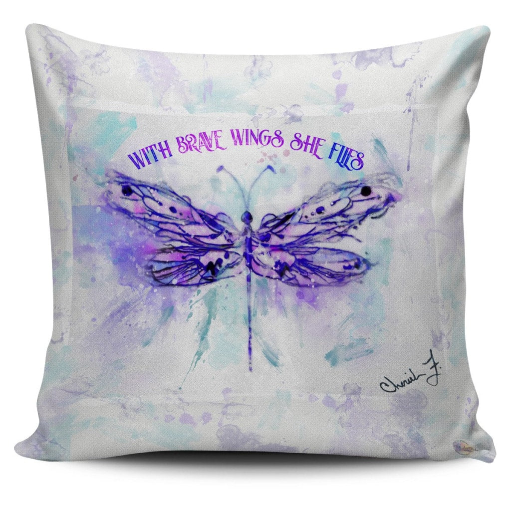 Dragonfly Brave Wings Throw Pillow Cover 18x18in