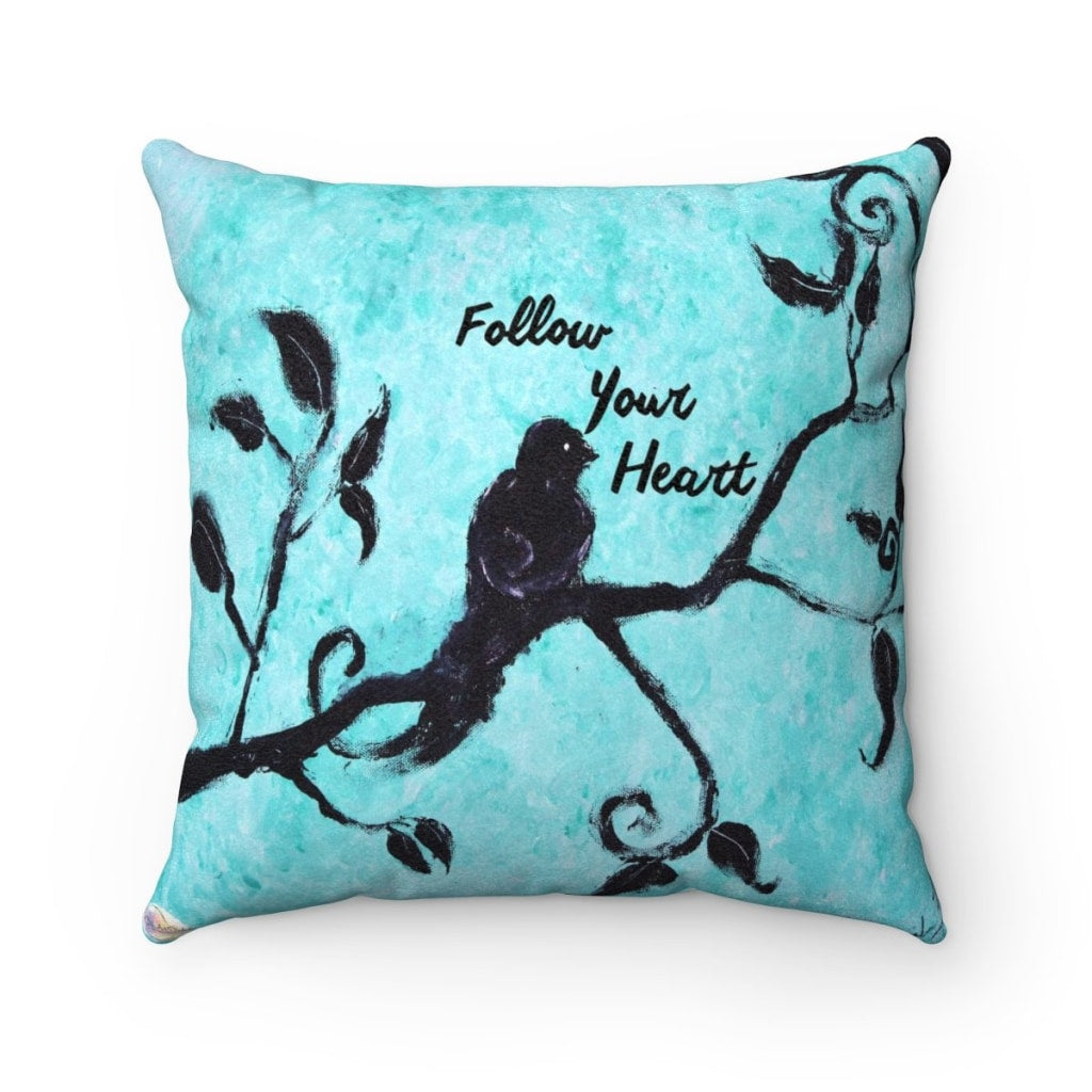 Follow Your Heart Lux F Suede Throw Pillow