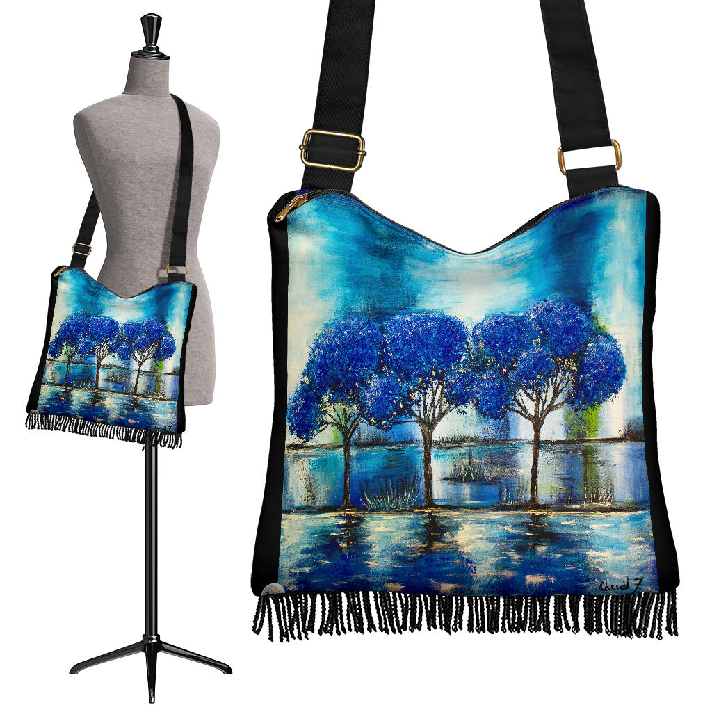 Blue Reflections Boho Cross Body Bag