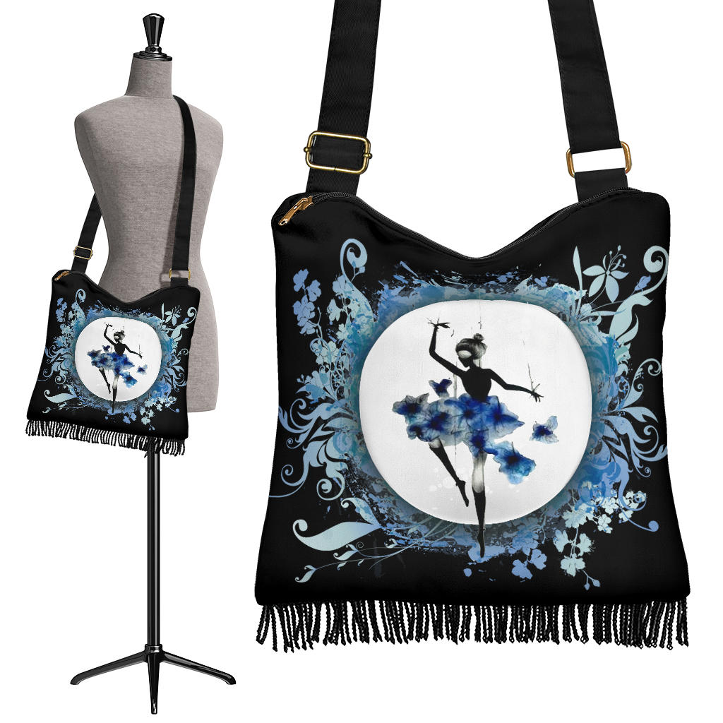 Blue Ballerina Boho Crossbody Bag Purse