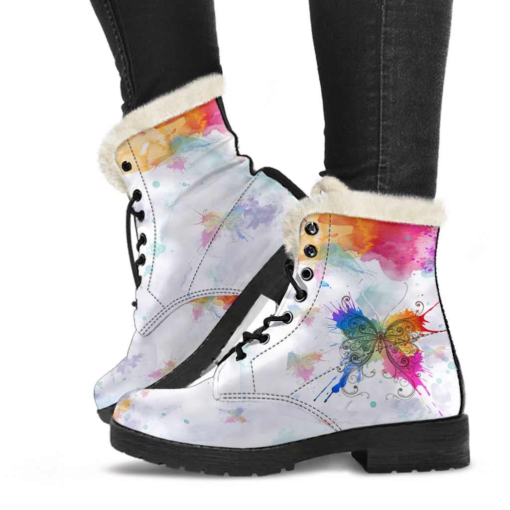 Watercolors Butterfly Fur Lined Boots by SophieStar