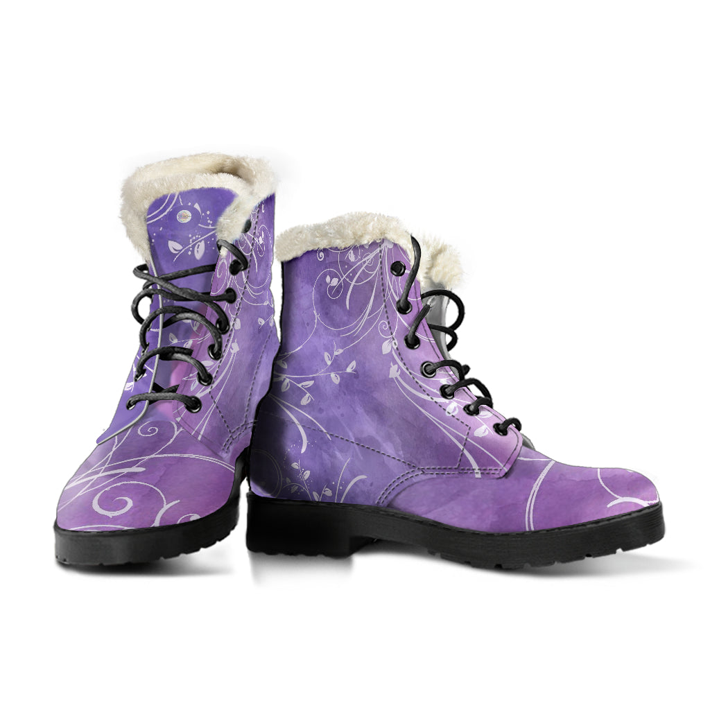 Lavender Fields Fur Lined Indi Art Leather Boots