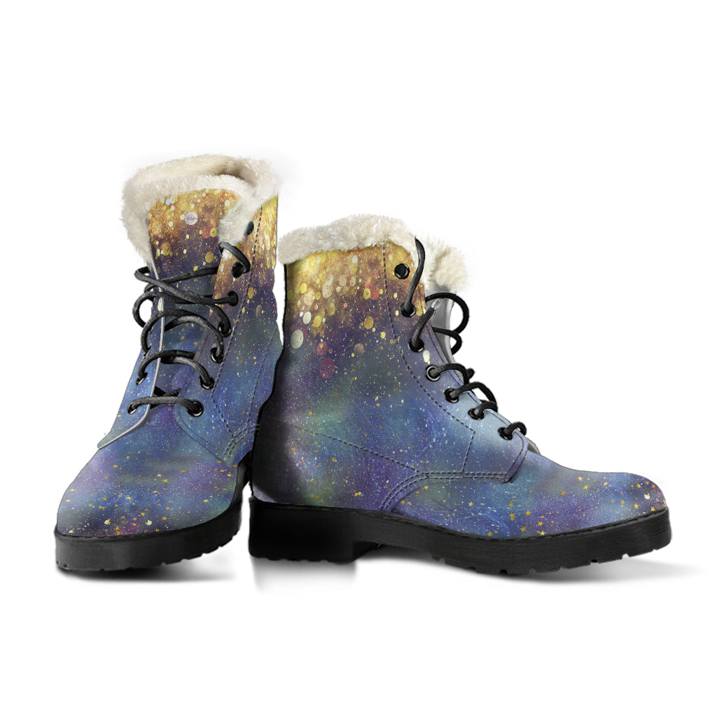 Gold Dust and Stars Fur Lined Boots by SophieStar