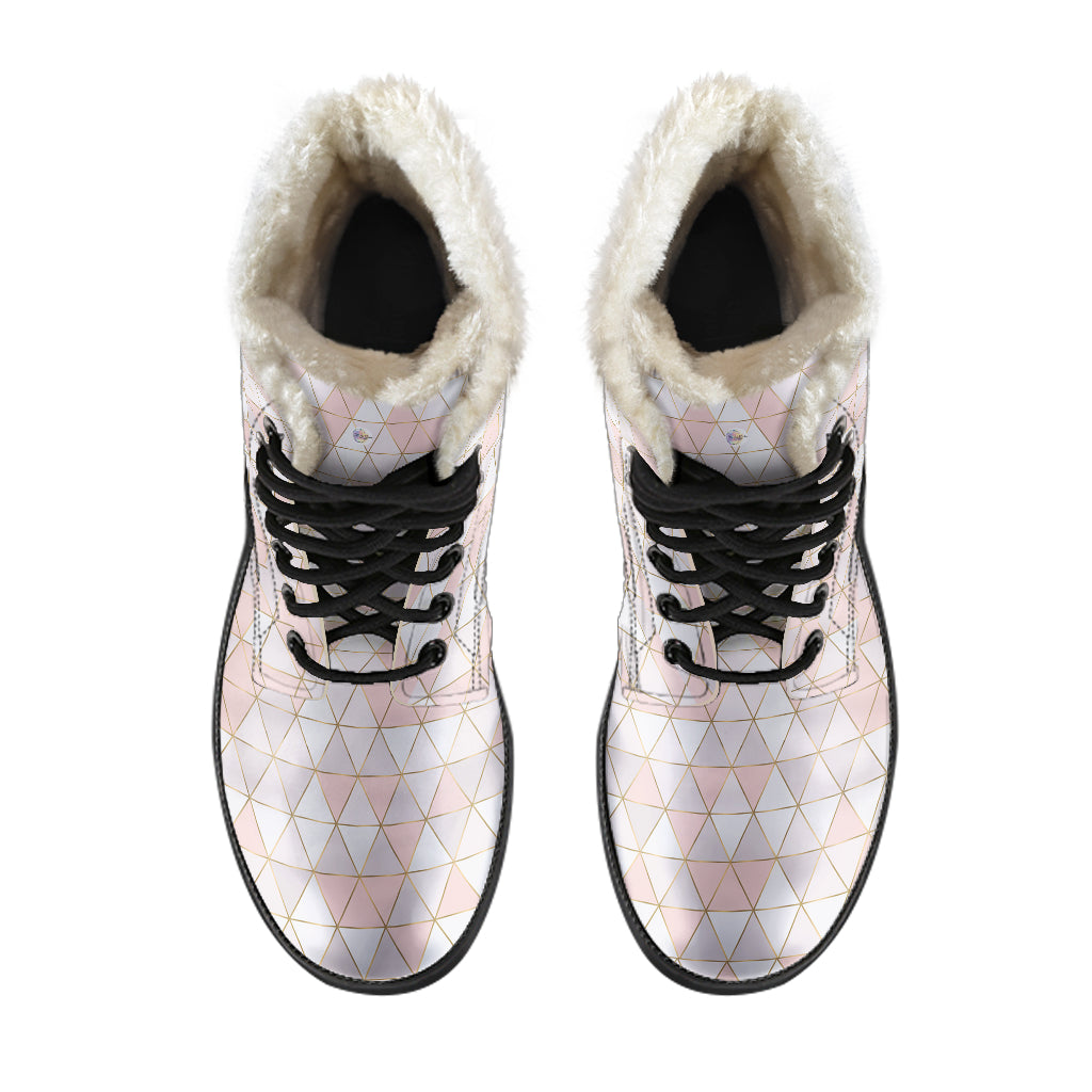 Gold Lines Pink Geo Fur Lined Boots by SophieStar