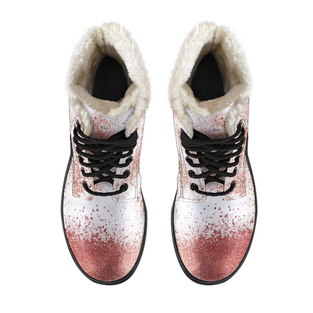 White and Rose Gold Fur Leather Boots