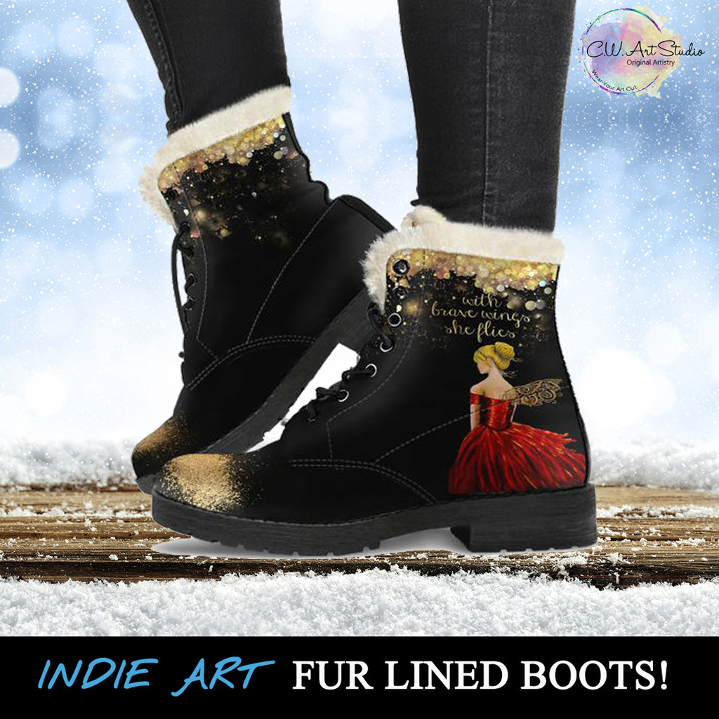 With Brave wings She Flies Indie Art Fur Lined Boots