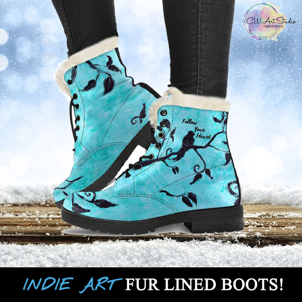 Follow Your Heart Fur Lined Whimsical Leather Boots