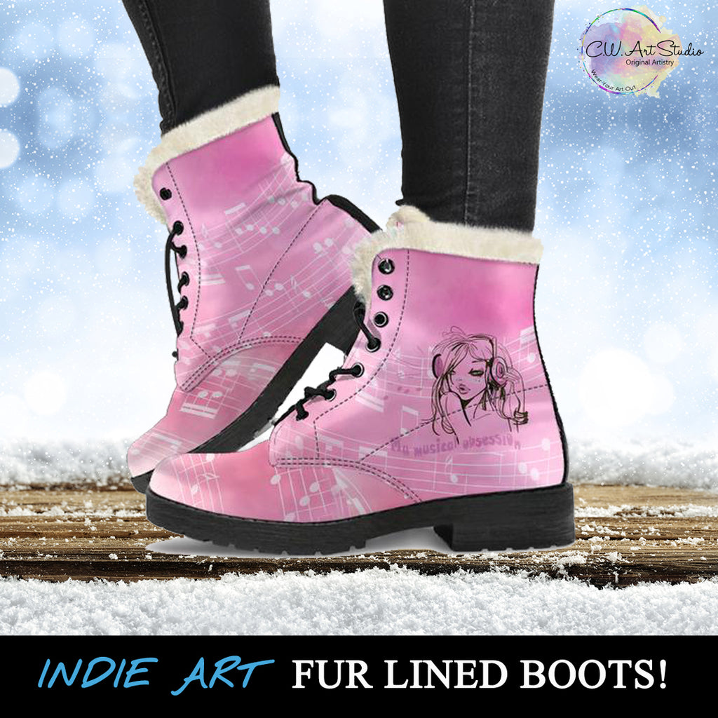 My Musical Obsession Pink Fur Lined Boots by SophieStar