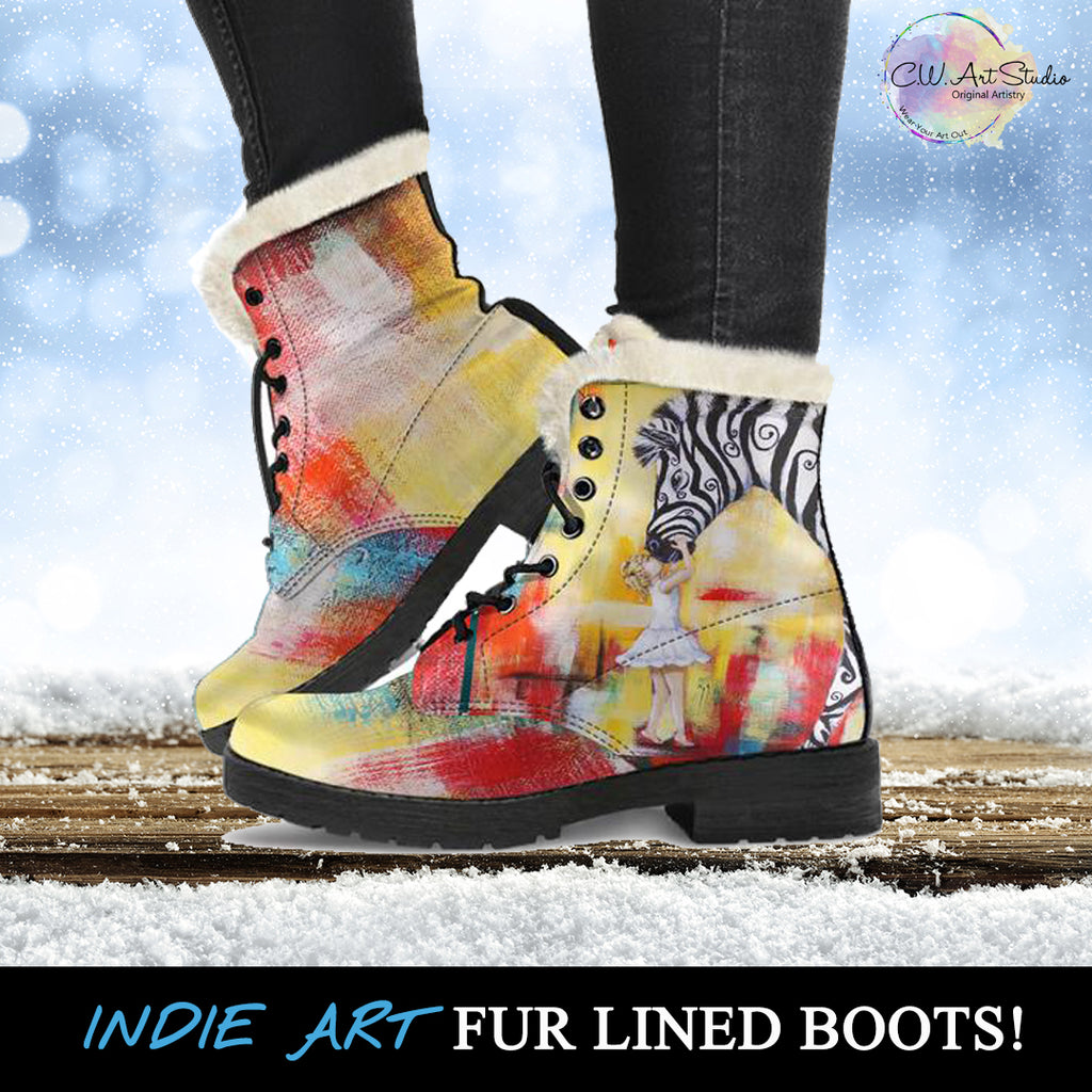Acceptance Zebra Fur Lined Leather Boots
