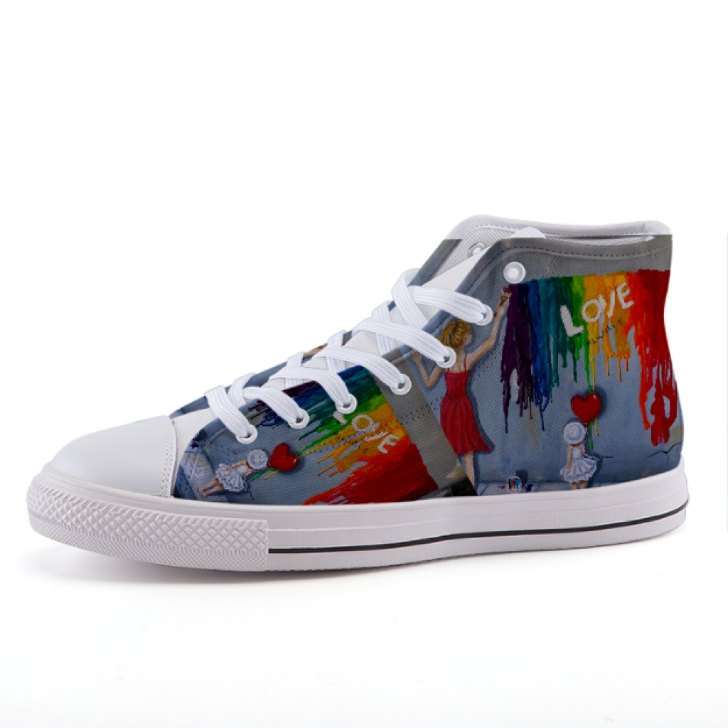 High-Top Canvas Sneakers - Love Design - 35 - Shoes C.w. Art Studio