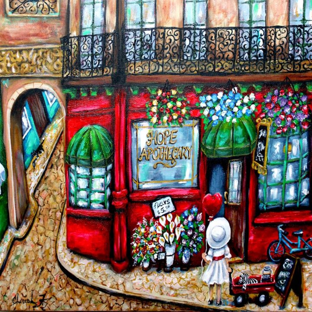 Hope Apothecary Artist Embellished Giclée- Unique Piece - Artist Embellished Print C.w. Art Studio