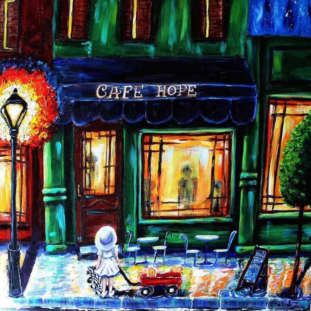 Hope Cafe Fabric Wall Poster - C.W. Art Studio