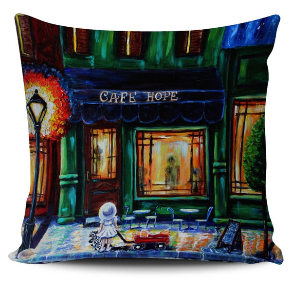 Hope Cafe Throw Pillow Cover 18x18in
