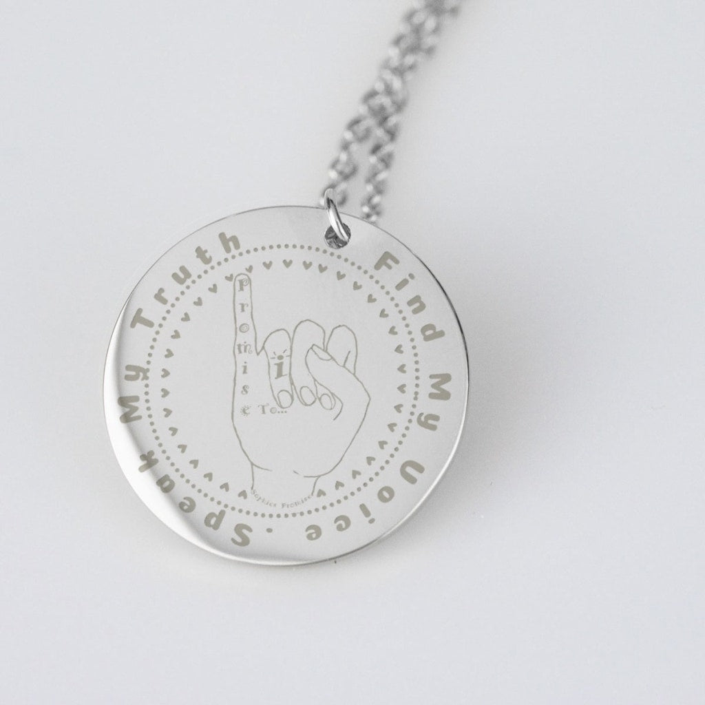 I Promise To ... Find My Voice .Speak My Truth Sophies Promise Pendent Necklace - C.W. Art Studio