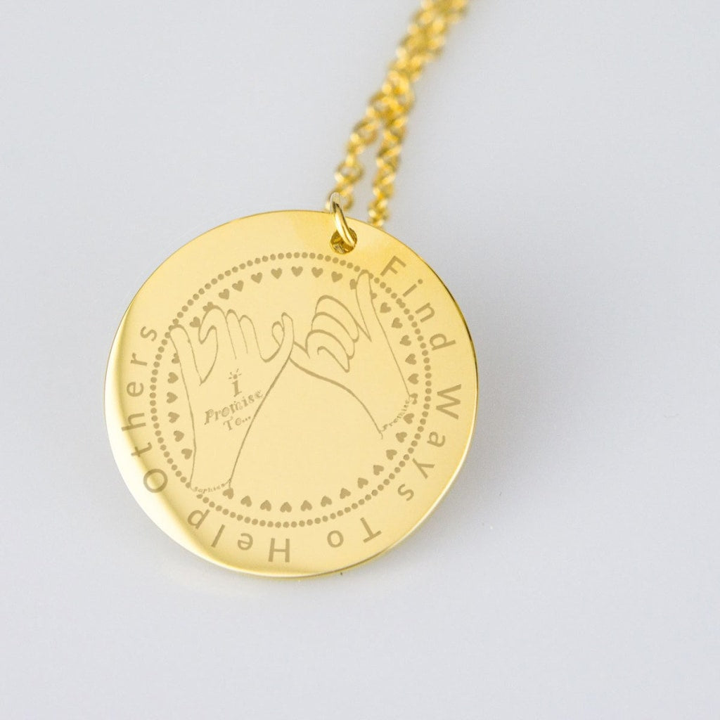 I Promise To... Find Ways To Help Others Sophies Promise Pendent Necklace - C.W. Art Studio