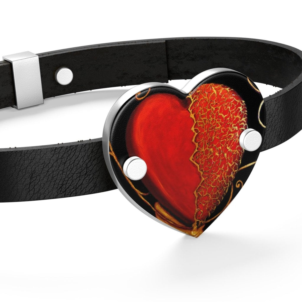 Kintsugi Heart Leather Bracelet - C.W. Art Studio