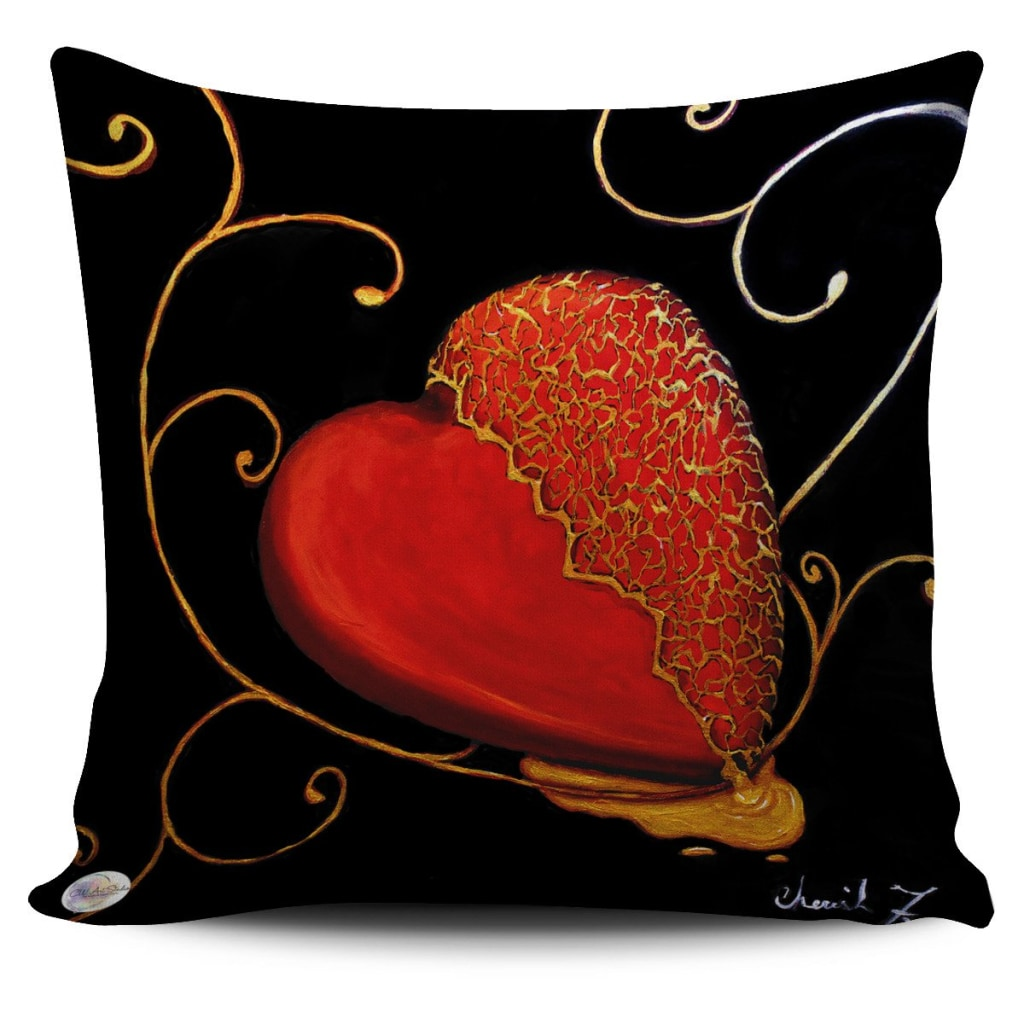 Kintsugi Heart Throw Pillow Cover 18x18in