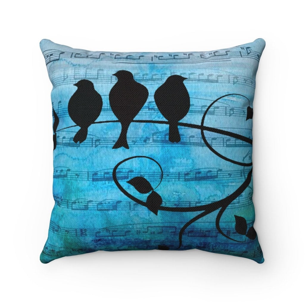 Music Birds Throw Pillow