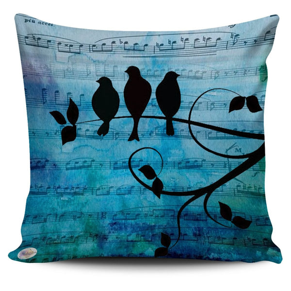 Musical Blue Birds Throw Pillow Cover 18x18in