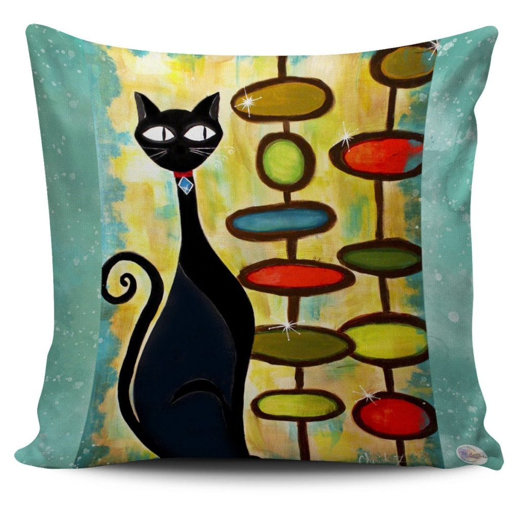 One Hip Cat Retro Throw Pillow Cover 18x18in