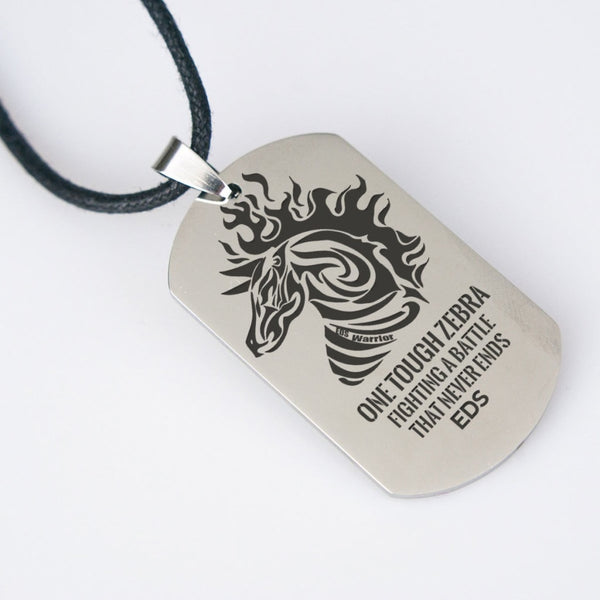 One Tough Zebra - EDS Mens Dog Tag Necklace - C.W. Art Studio