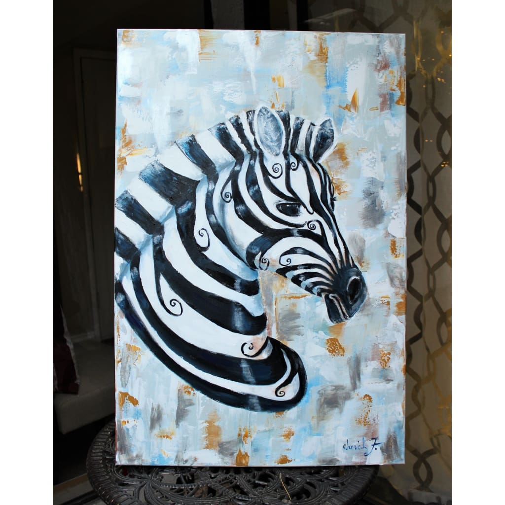 Original Painting - Silver CheckMate Zebra - C.W. Art Studio
