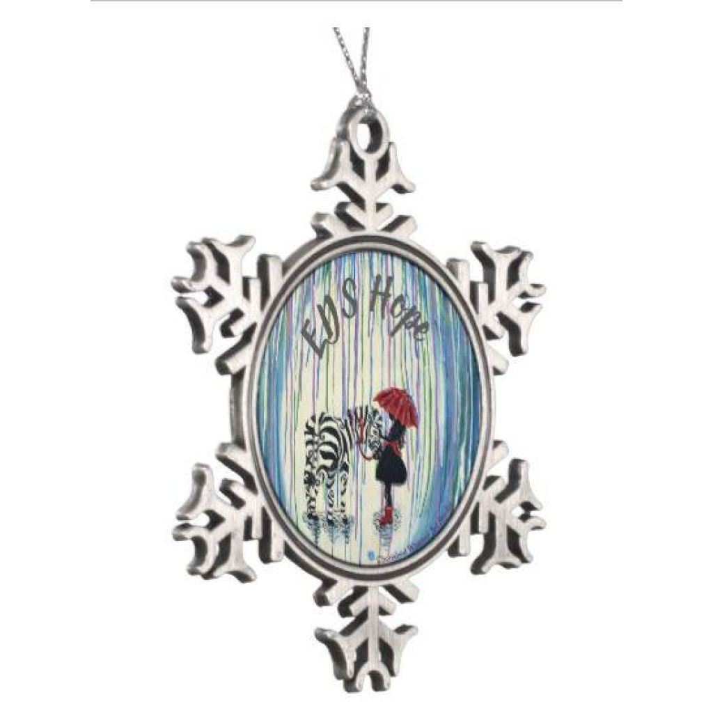 Pewter Snowflake Christmas Ornament - EDS Reign Hope Zebra - C.W. Art Studio