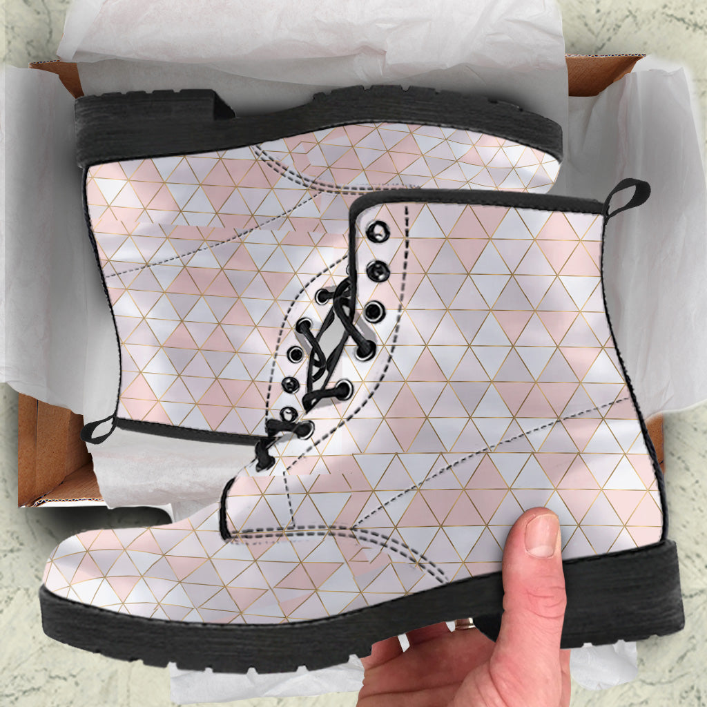 Gold Lines Pink Geo Leather Boots by SophieStar